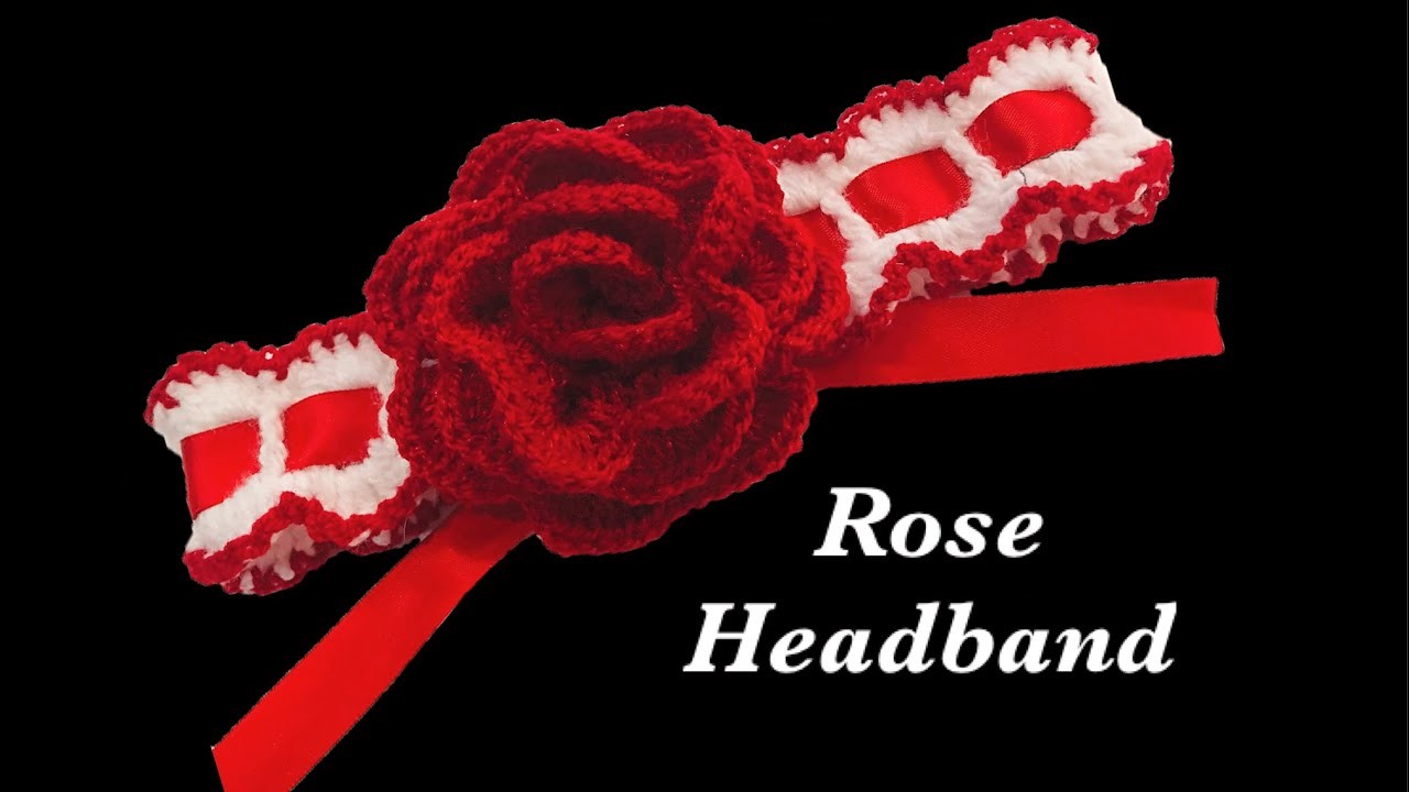 How to crochet baby girl headband with rose flower by Crochet for Baby #161