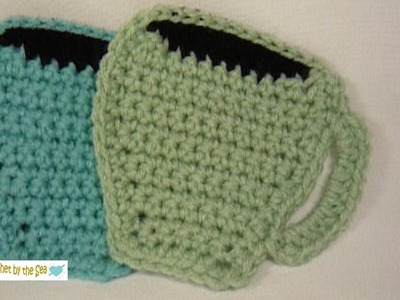"""How to Crochet Coffee Cup Coasters or Appliques! FREE pattern in the """"Show More"""" below! :o)"""