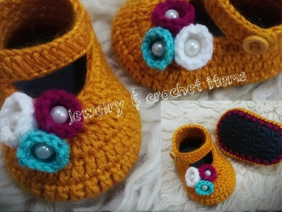 How To Crochet Cute Baby Booties( 3-6 month)