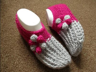 How to crochet slippers socks adults tutorial women's Designed by Happy Crochet Club