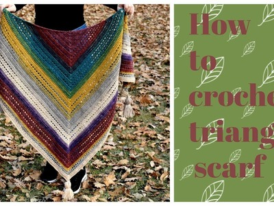 How to crochet triangle scarf.Super easy Lion brand Mandala triangle shawl.