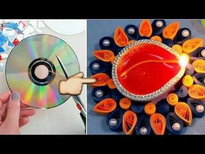 How to decorate diya with CD | DIY shivani | #festival_season