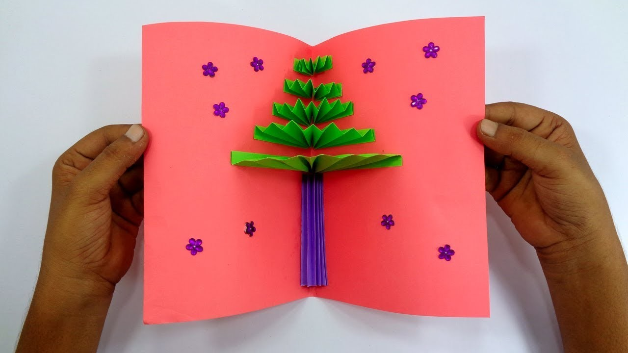 How To Make a Paper Gift Card For Christmas   DIY 3D Pop Up Christmas Tree Greetings Card