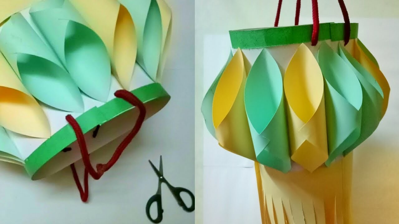 How To Make Diwali. Christmas Decoration Ideas By Mimu Craft | Diy Paper Lantern With Color Paper