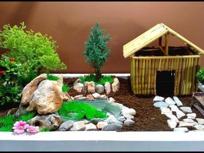 How to make Fairy garden with mini Fountain. DIY