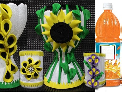 How to make flower vase in easy with plastic bottle   unique idea   DBB