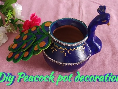 How to make peacock kalash with clay|| diwali pooja kalash || kalash decoration