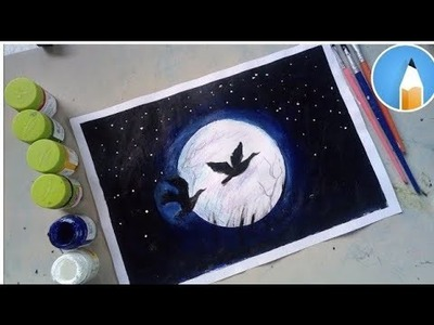 How to paint a moonlight night with poster colour | Very easy