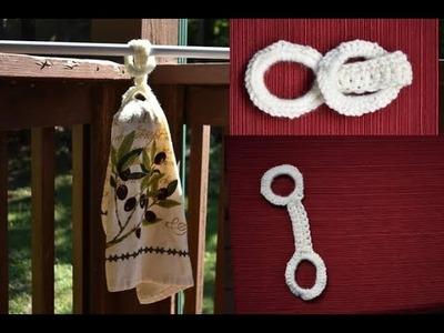 Lariat hanger. Beginners Towel Ring Holder, Button Free . Crochet along