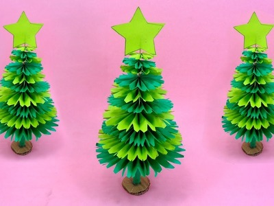 Paper Christmas Tree Making With Green Color Paper | DIY Christmas Craft