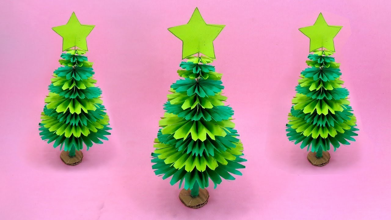 Paper Christmas Tree Making With Green Color Paper Diy Christmas Craft