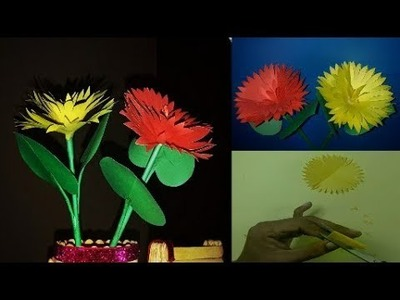 Paper Flower- How to Make Stick Flower||Best DIY Home Décor idea with Color Paper By RB Easy Crafts