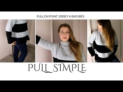 Pull simple en point jersey à rayures