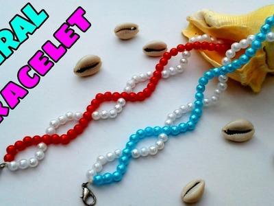 Simple beaded bracelet.Bracelet making tutorial.DIY Spiral Friendship Bracelet
