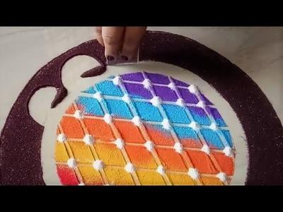 Super easy SCALE effect rangoli #NEWTRICK