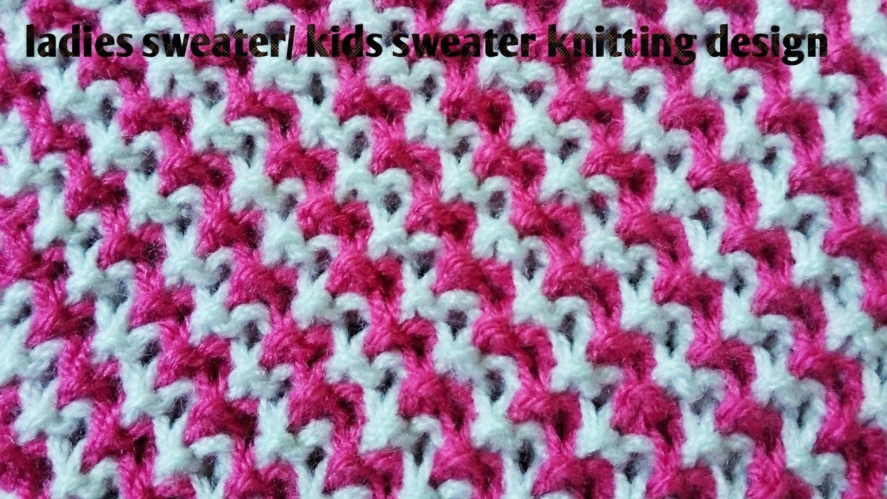 262b77ea6913 Sweater design for ladies and babies.two colours knitting pattern ...