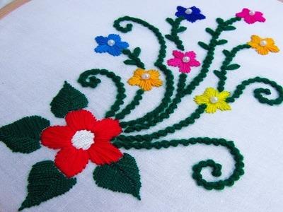 Bead stitch tanka hand embroidery