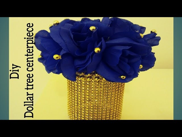 Diy Royal Blue And Gold Centerpiece Decor Made With Dollar Tree