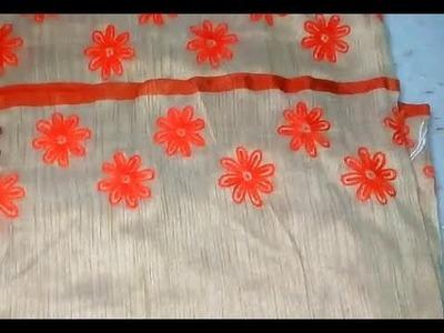 Hand embroidery on saree. Flower pattern on saree border. Supriya Talukder.