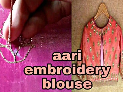 New Aari embroidery tutorial blouse design work | Hand embroidery