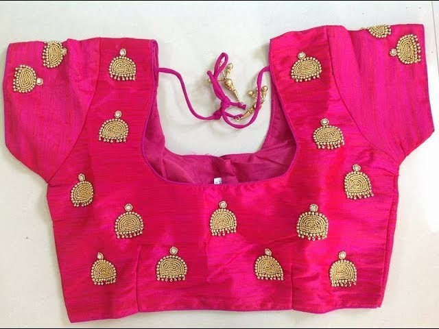 469ebbdf89d073 Party Wear Jhumka Embroidery Blouse Designs || Hand Work Jhumka Blouse  Design || Short Sleeve Blouse
