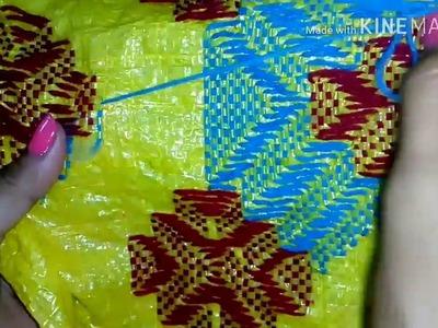 Plastic Sack stitch. Hand embroidery. Part 2. Table mat stitch. Supriya Talukder