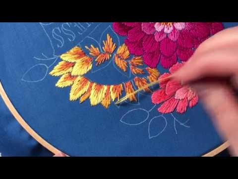 Thread painting with the long and short stitch hand for Hand thread painting tutorial