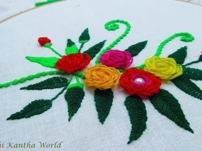 Hand embroidery flower design by Nakshi Kantha World