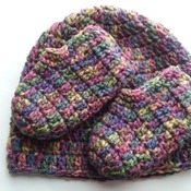 Hat-n-booties set for baby - multicolor acrylic washable and dryable yarn