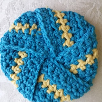 Tawashi (scrubby) made with 100% cotton yarn - Turquiose 001