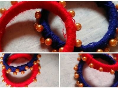 Beautiful woolen and pearls bangles.amazing creation.woolen craft