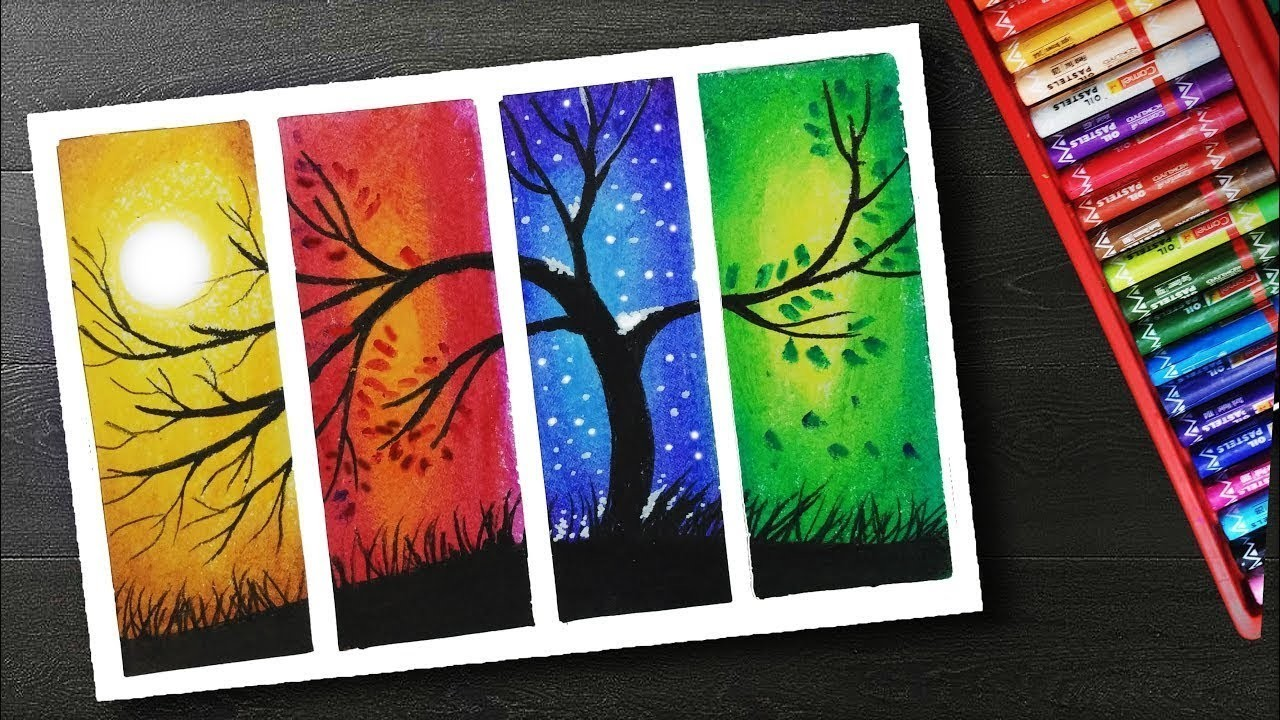 How to Draw Four Season Scenery drawing with oil pastels ...