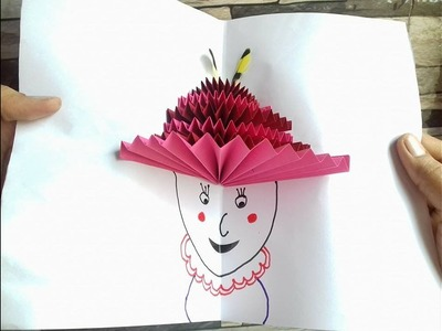 How to make a lovely hat on lady's head craft - Hat handicraft