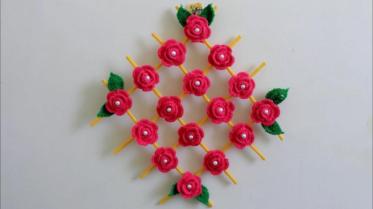 Wall Hanging Craft Idea Using Woolen New Design Crochet Showpiece