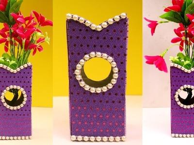 How to make flower vase using cardboard - Cardboard vase diy - Cardboard craft ideas at home