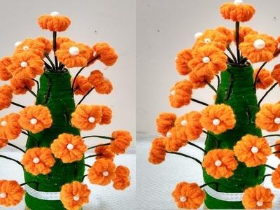 Make Woolen Flower Pot | Woolen Craft || How to Make Yarn Flowers || New Design Guldasta.
