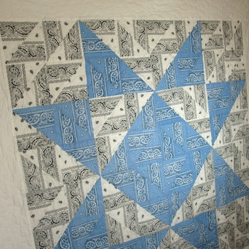 Modern,large Throw,New,100% Cotton,Western Paisley Bandana,Carolina Blue and White,Star,Handmade,Quilts for sale