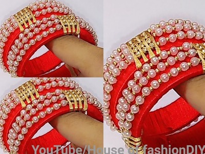 How To Make Designer Bangles.Silk thread Bangles.Pearl Bangles. !