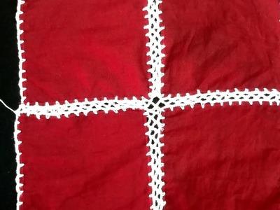 কাপড়ে কুশির কাজ.Crochet Border on cloth (part:2).Crochet craft