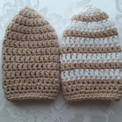 Baby beanies set of two - Striped and solid set - Beige and White - Newborn to 4 months