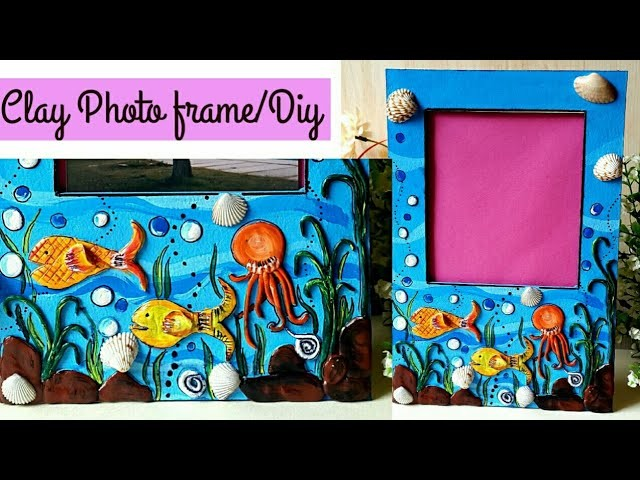 DIY clay art mural photo frame with fish theme I photo frame ideas | colours Creativity Space