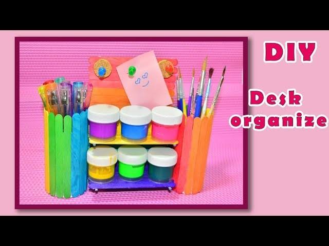 DIY.Desk organizer from ice cream stick.Hand made.Tutorial&crafts.Handmade.My creative ideas.