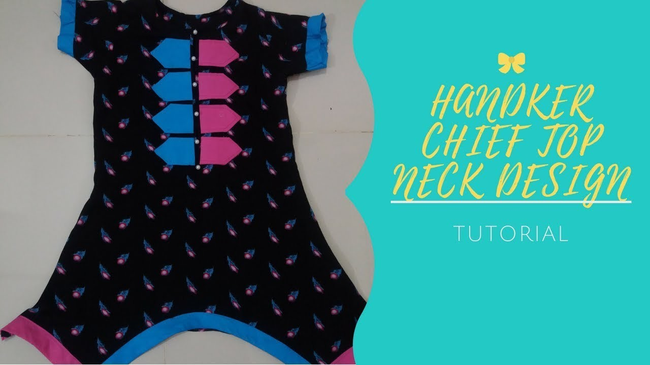 DIY.Handkerchief pattern kurti with stylish neck design.STYLISH dress design for girls