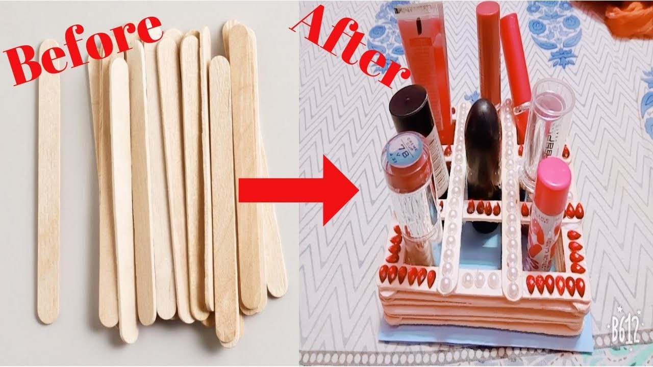 DIY | How To Make Lipstick Stand From Icecream Stick. Popsicles Stick At Home | NOOR tutorials.
