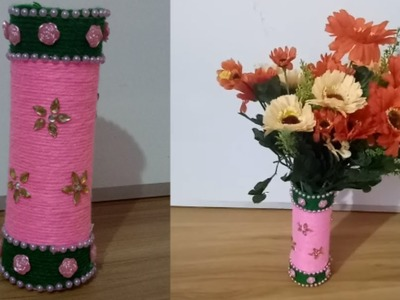 How to make flower vase from plastic bottles.DIY Best out of waste.