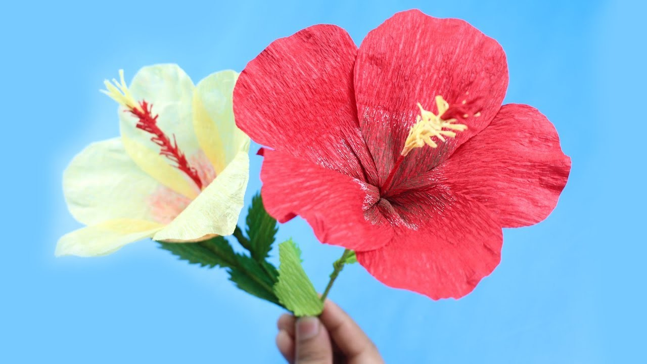 Origami Hibiscus Flower How To Make Diy Hibiscus Flower From Crepe