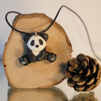 Panda Bear Necklace Animal Black White Jewellery Accessories Handmade Wildlife Nature