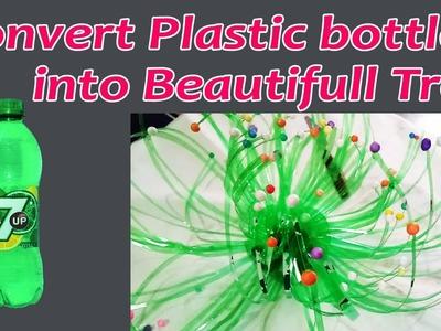 Plastic bottle diy reuse tun bottle into decorative tree