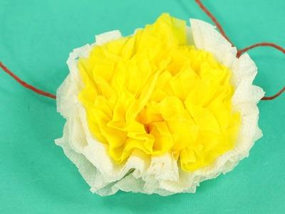 Tissue Paper Flower - White Yellow Paper Flower DIY Tutorial