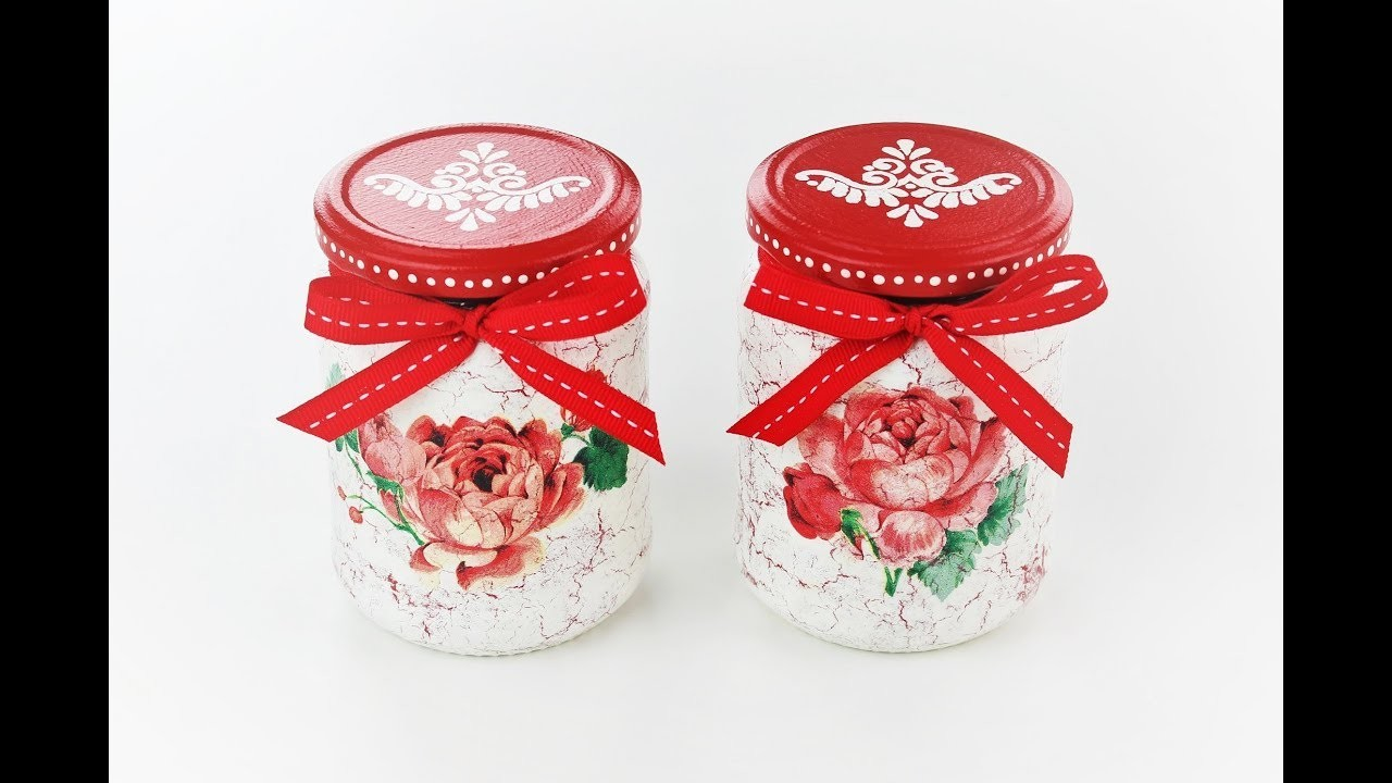 Decoupage jars with easy crackles - Decoupage tutorial - DIY - Do It Yourself